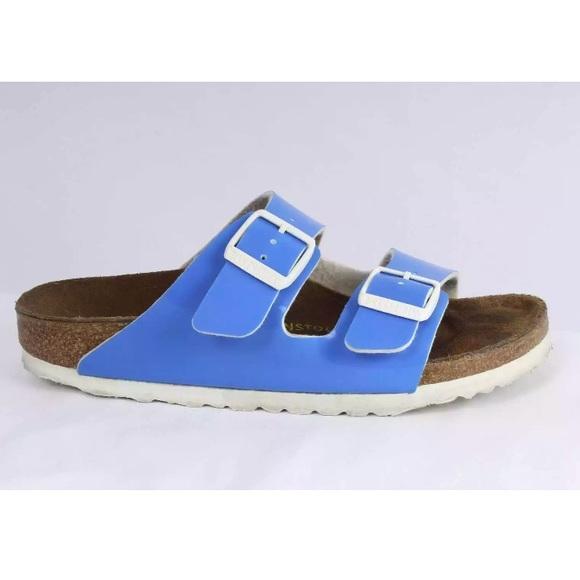 8f6beecfc55 Birkenstock Shoes - Birkenstock Arizona Birko-Flor Patent Blue Sandals